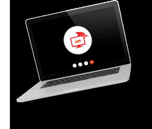 Notebook com tela de espera de um Webinar